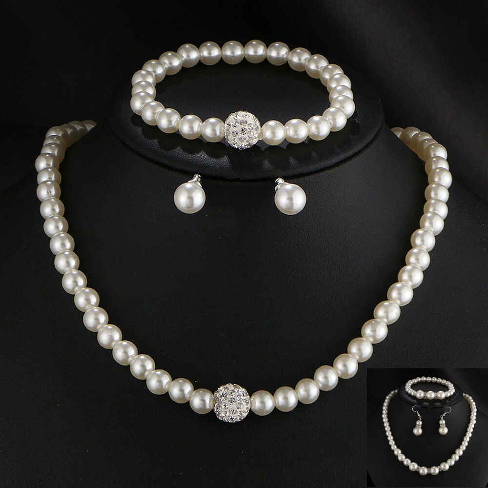 Details About Uk Fashion Real Natural Freshwater Pearl Necklace Bracelet Earrings Jewelry Set