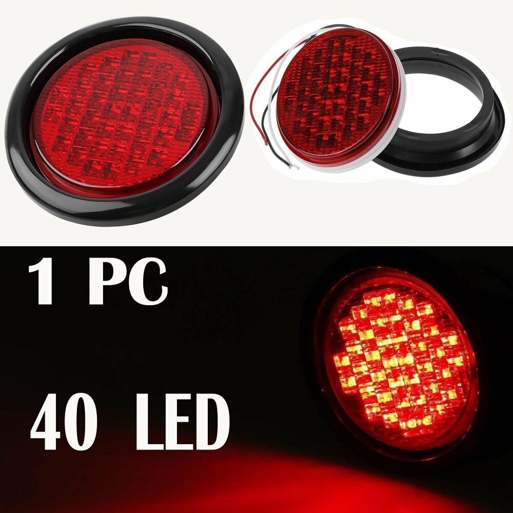 40 Led 4 U0026quot  Round Truck Trailer Rubber Mount Stop  Turn  Tail Brake Light Sealed Red