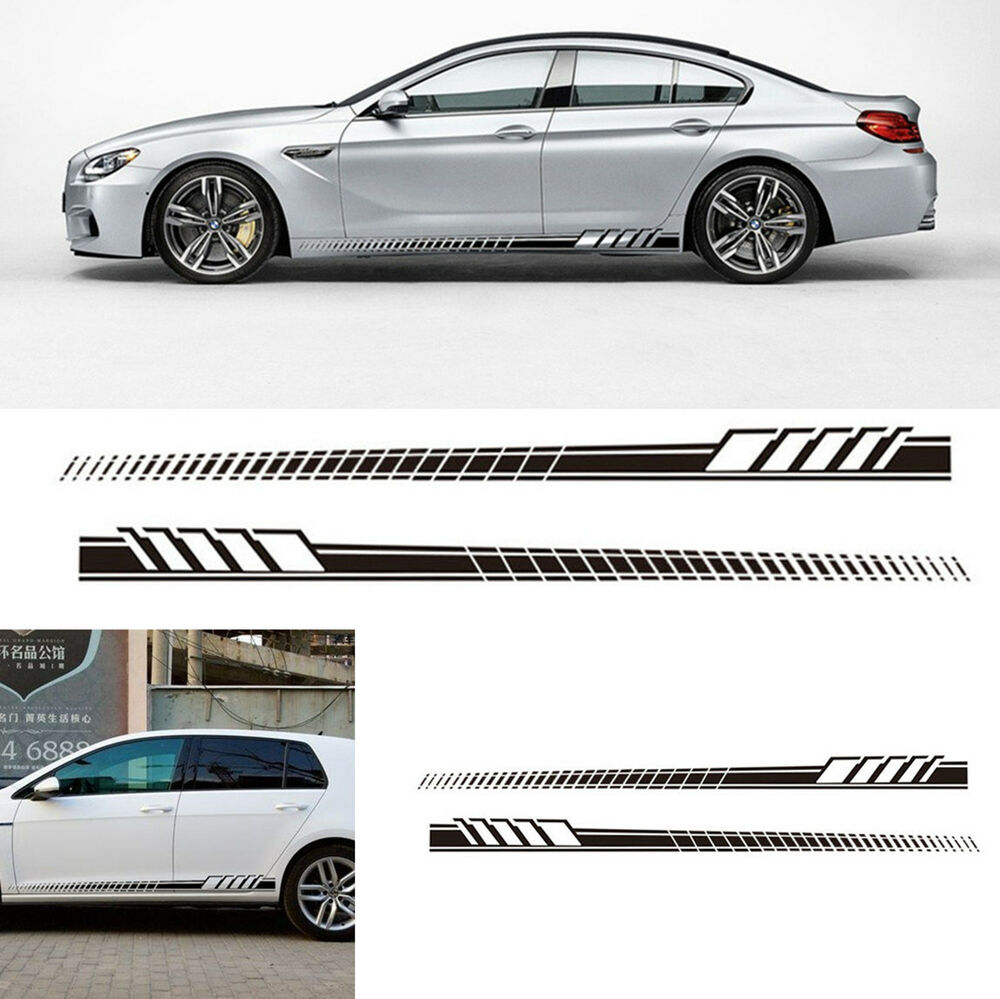 Details about auto car side body long stripe vinyl decals black decoration sticker waterproof