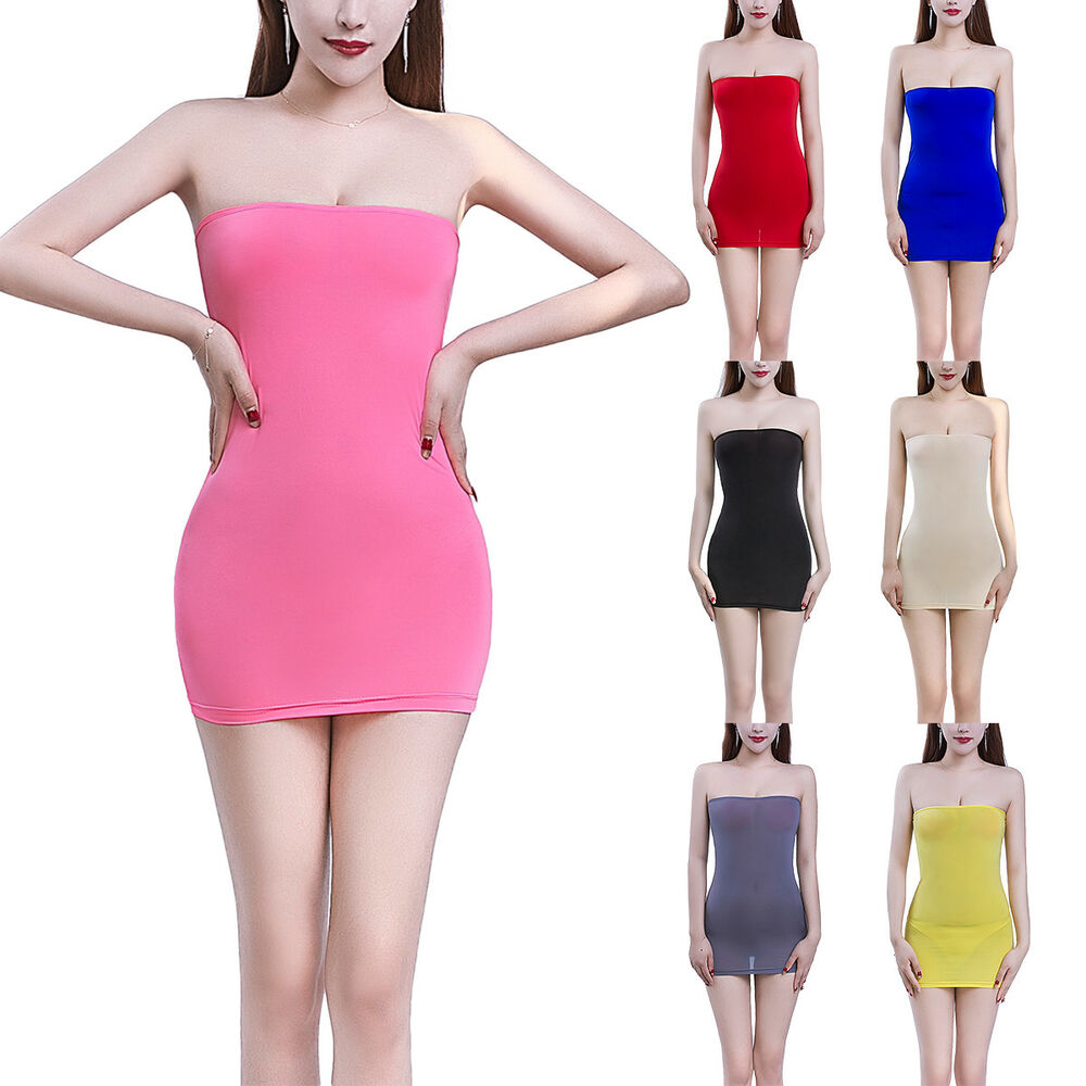 60e0033c558b57 Details about Womens Sheer Micro Mini Dress Strapless Tube Dresses Bandeau  Bodycon Night Party