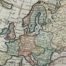 Europe continent c.1778 T. Jefferys engraved old map w/ decorative cartouche