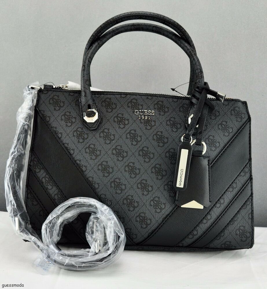 Details about Brand New GuEsS Rare Collections Handbag Ladies Slater Bag  Coal Satchel cbb78c370464a