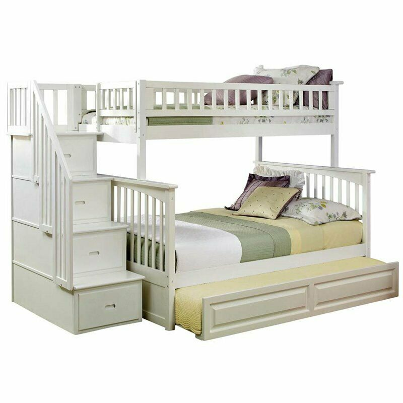 Rosebery Kids Twin Over Full Staircase Bunk Bed With