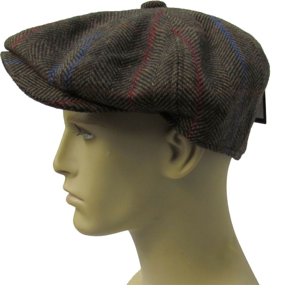 e4fcf540 Details about Bakerboy Hat Newsboy Wool Gatsby Herringbone Tweed Flat Cap  Baker Boy Mens