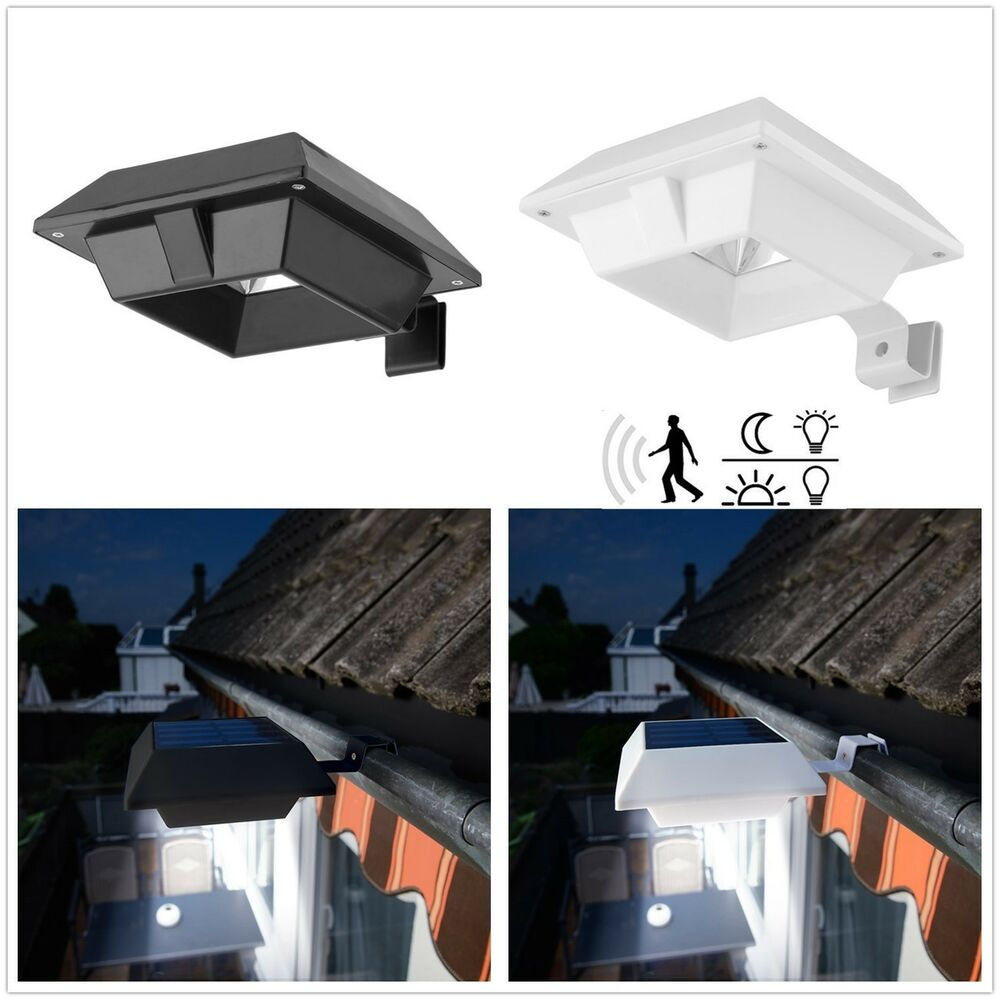 12leds solarleuchte mit bewegungsmelder lampe dachrinnen aussen wand zaun licht ebay. Black Bedroom Furniture Sets. Home Design Ideas