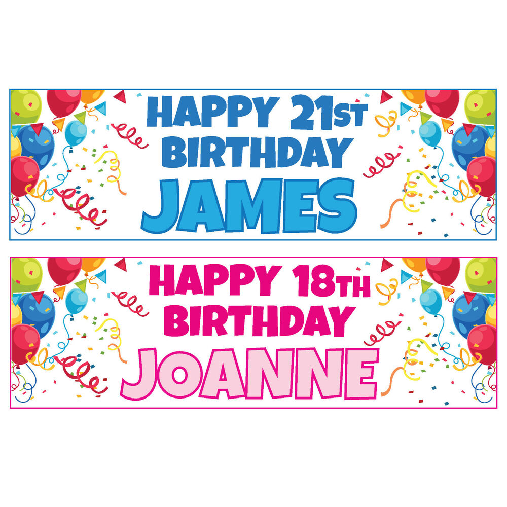 Buy 1 Get 1 Free Large Personalised Birthday Banners