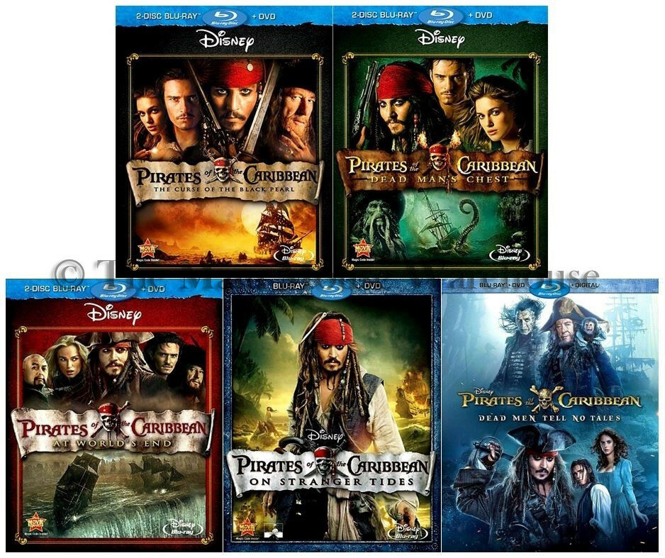 All Pirates of the Caribbean Movies Entire Series Blu-ray DVD Complete Movie  Set | eBay