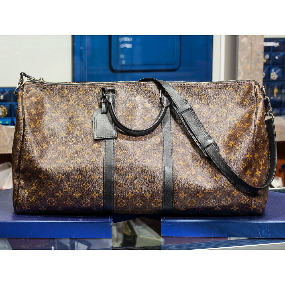 97310f9914c9 Details about LOUIS VUITTON M56714 Monogram Macassar Keepall Bandouliere 55  Luggage Travel Bag