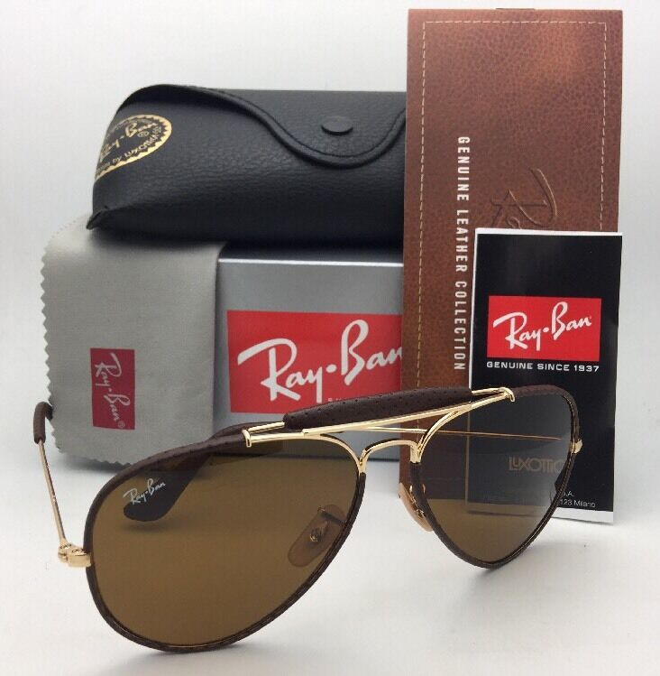 182515d7d70c83 New RAY-BAN Sunglasses RB 3422-Q 9041 Gold   Brown Leather Aviator w  B-15  Brown 8053672790290