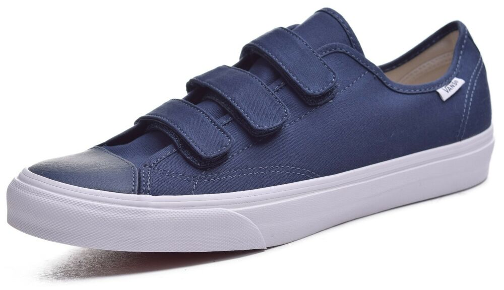 95d426a4fbd85 Details about Vans Style 23 V Mens Canvas Leather Toe Navy Skateboard Shoes  Size 11
