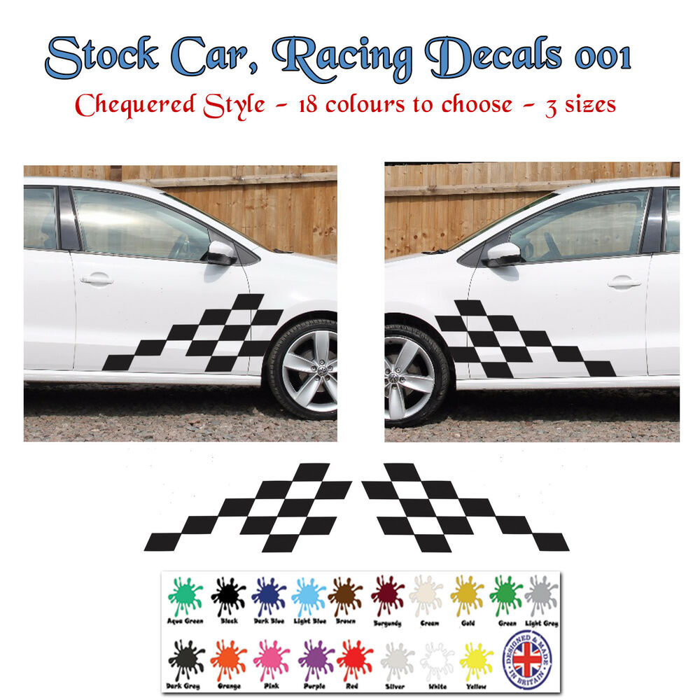 Details about stock cars rally car racing chequered stickers decals graphics small