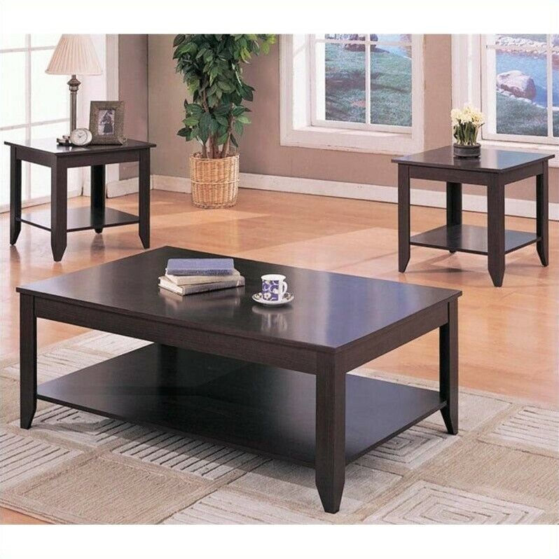 Cappuccino Coffee Table Set.Bowery Hill 3 Piece Contemporary Coffee Table Set In Cappuccino 680270398016 Ebay
