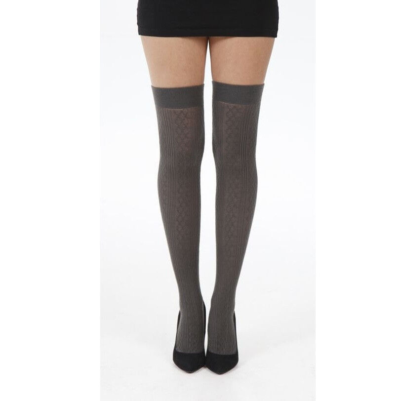 f146b70f1 Details about Pamela Mann Soft Acrylic Cable Knit Over The Knee Socks
