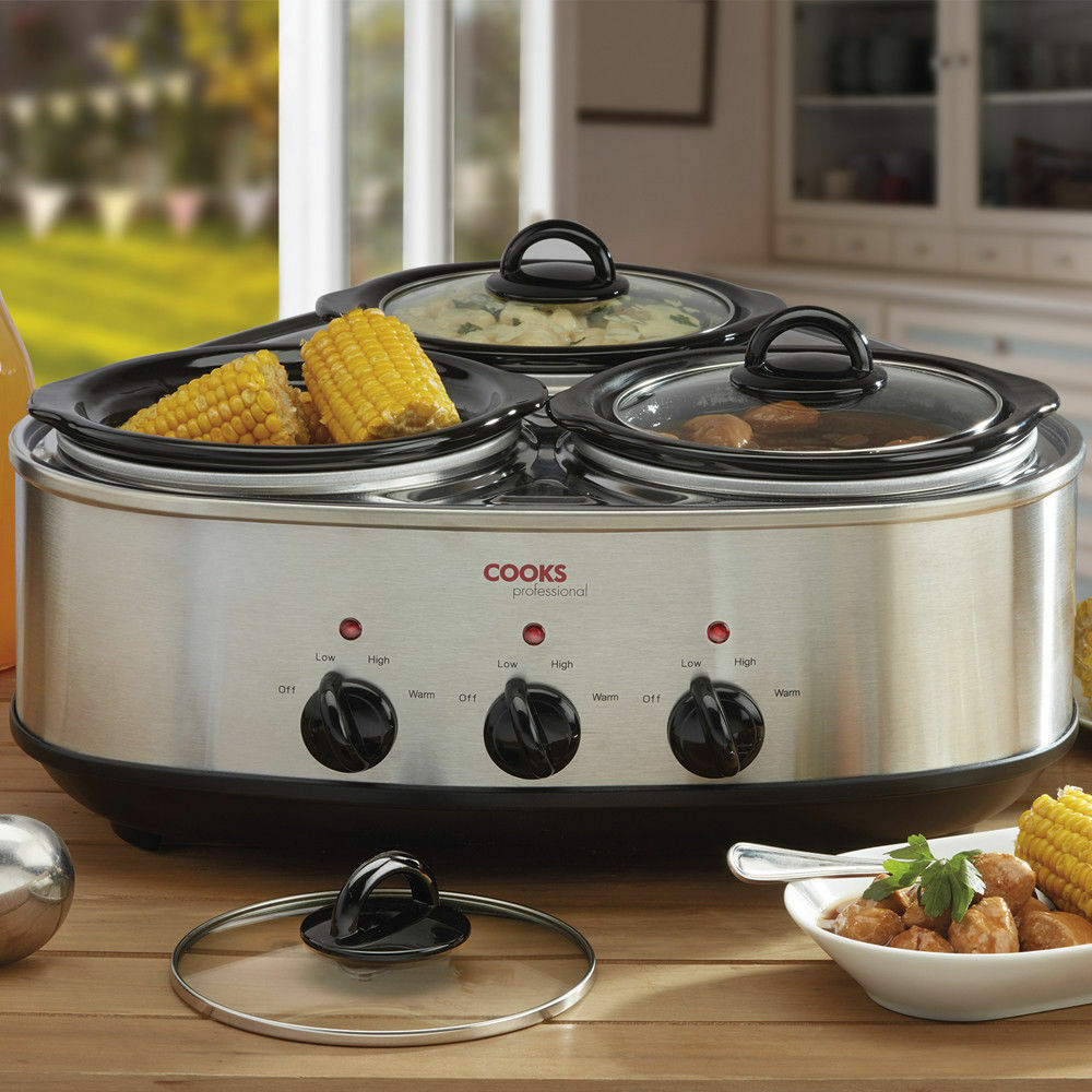 Cooks Professional Three Pot Slow Cooker Removable Pots