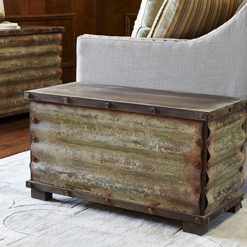 Beige Trunk Coffee Table: New Rustic Corrugated Metal Solid Wood Storage Chest Trunk