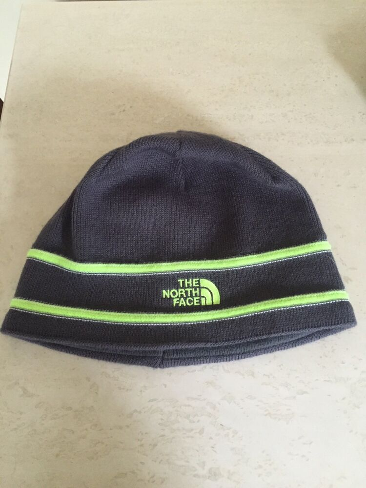 2ecc5984d7e Details about THE NORTH FACE LOGO BEANIE GRAPHITE GREY GREEN KNIT CAP HAT  YOUTH MED KIDS