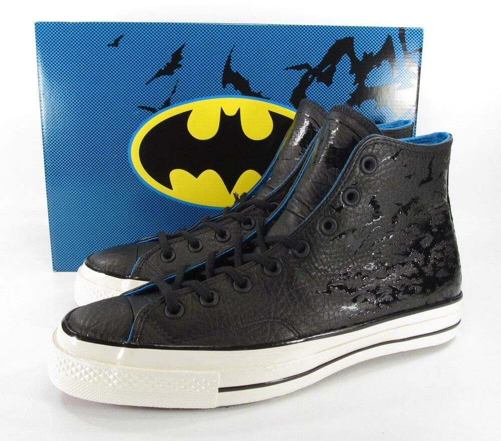 Details about Converse DC Comics Batman 70 s Hi Chuck Taylor BLACK Embossed  Leather RARE! LE! 2c19fd53d