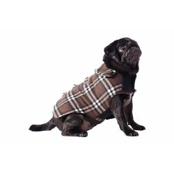 Small Dog Puppy Duffel Coat Jacket Chocolate Brown Check Warm S Ancol Fleece