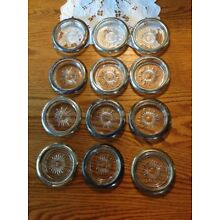 Set of 12 Vintage Silver Plated Glass Coasters