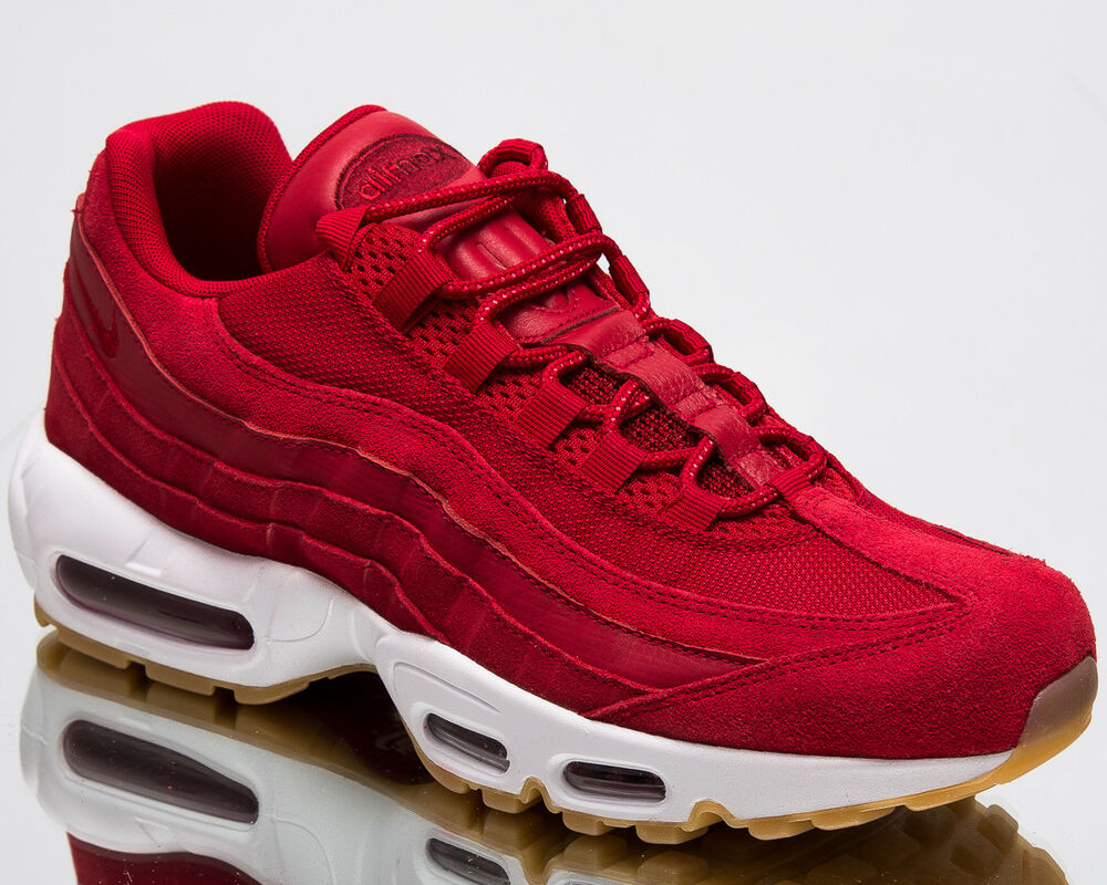 88aea679cb Details about Nike Air Max 95 Premium Men New Shoes Gym Red Team Red White  Sneakers 538416-602