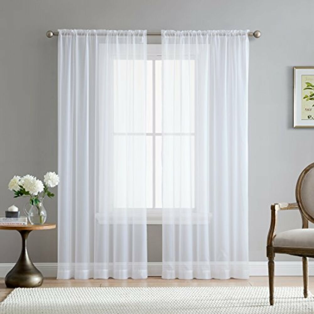 """White 54"""" Inch X 84"""" Inch Sheer Curtains Window Voile"""