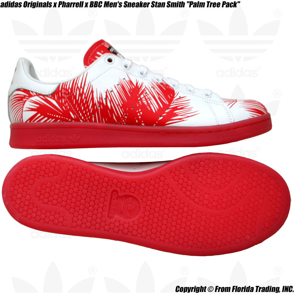 784675d581a2e Details about adidas Originals x Pharrell x BBC Men s Sneaker Stan Smith(10)Red  Palm Trees