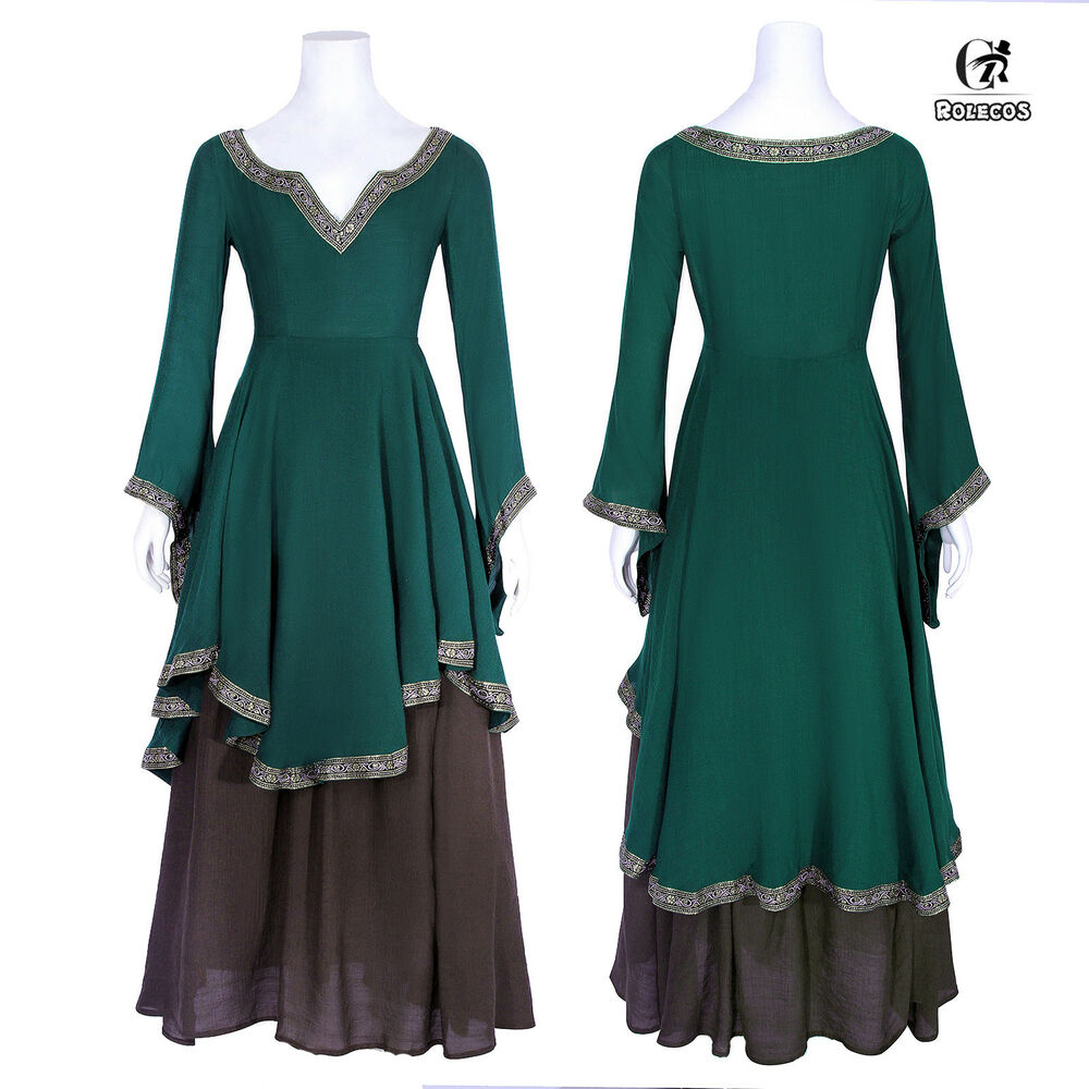 2098fa3c95db Details about Renaissance Medieval Costume Gown Scottish Celtic Irish Dress  Cosplay Costume