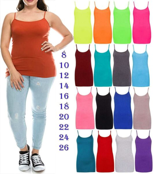 Plus Size New Womens Ladies Stretchy Long Strap Cami Camisole Vest Tank Top 8-26