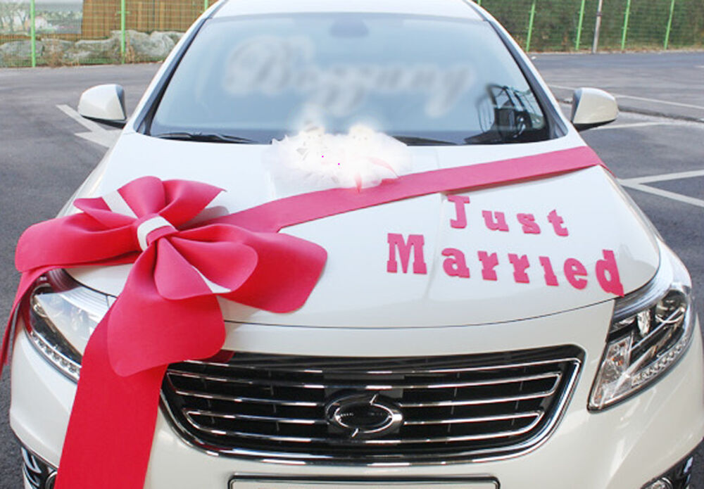 Wedding car Decorations kit Big Ribbons Red bows Letter ...