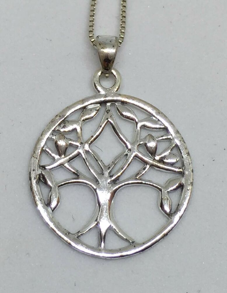 8b4d631570 Details about Tree of Life Pendant Sterling Silver Necklace 925 Box Chain  18