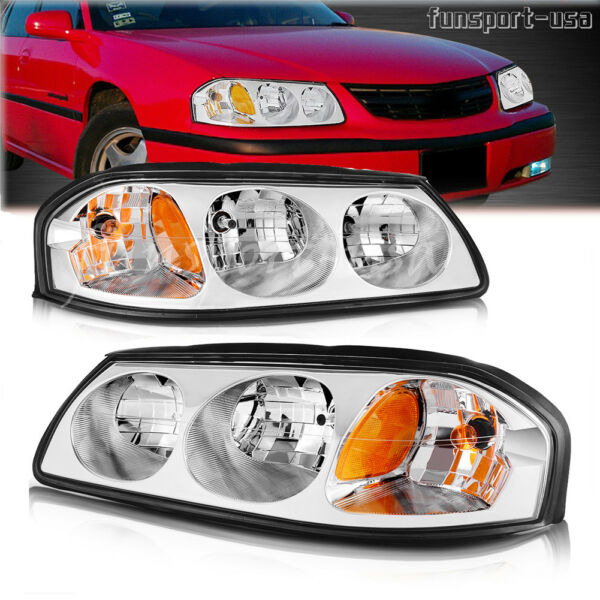 for 00-05 Chevy Impala Chrome Clear Amber Headlights Headlamps Assembly Pair Set