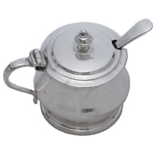 1957 F.C. Richards Sterling Silver Mustard Pot & Spoon with Cobalt Glass Liner