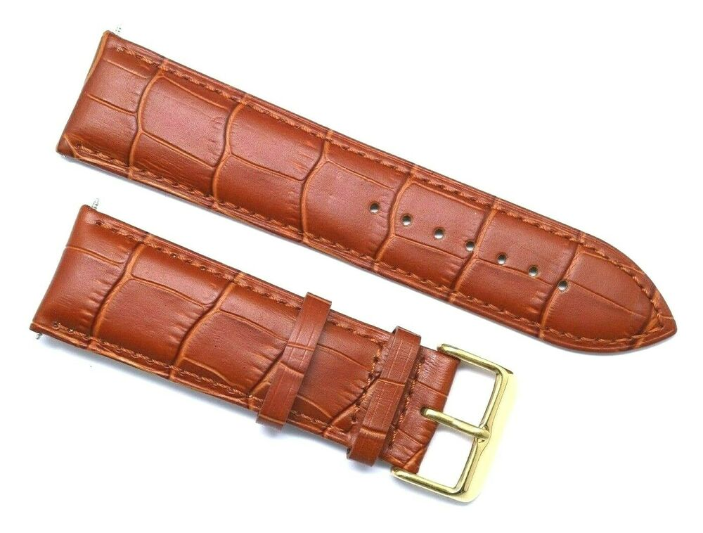 ccd5f48bfd97d Details about 24mm Brown Leather Replacement Alligator Watch Band - Guess  Fossil 24 Gold Tone