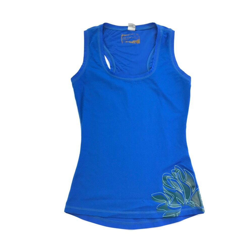 Oakley Womens Blue Floral Print Sleeveless Athletic