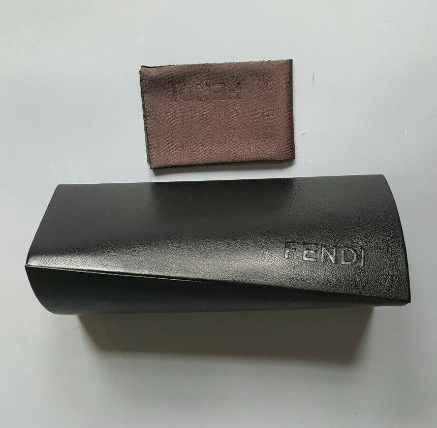 ddc0b87bbd23 Details about FENDI BLACK TRIANGLE HARD SUNGLASSES CASE WITH CLEANING CLOTH