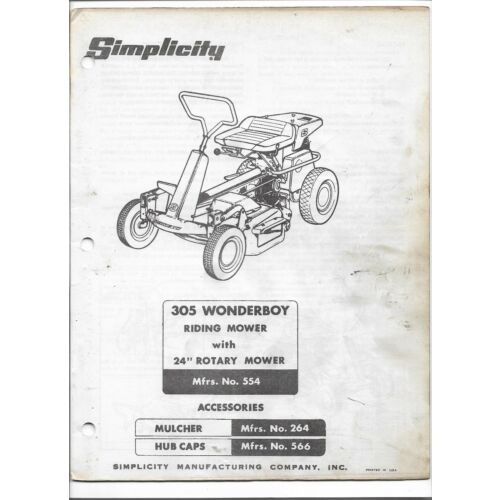 original-simplicity-305-wonderboy-24-inch-riding-mower-owners-manual-parts-list