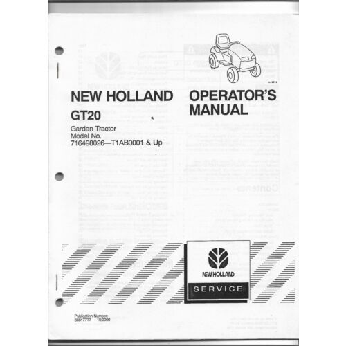 original-new-holland-gt20-garden-tractor-operators-manual-86617777-dated-102000