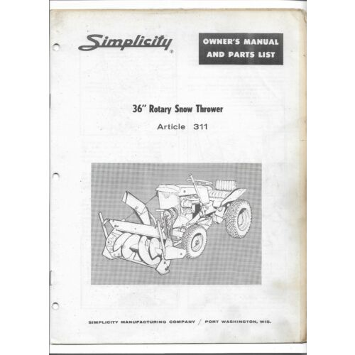 original-simplicity-36-inch-311-rotary-snow-thrower-owners-manual-and-parts-list