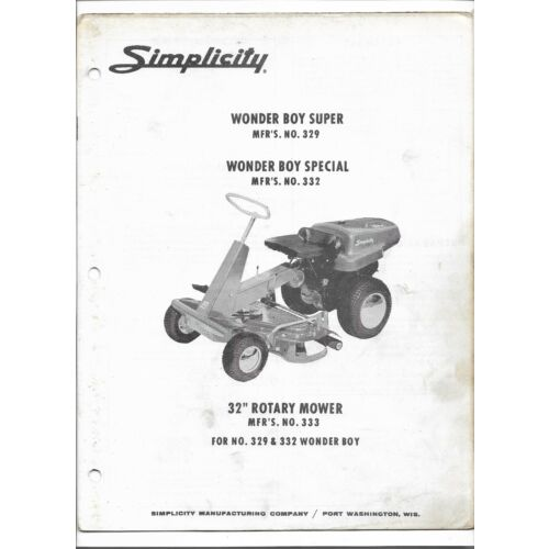 original-simplicity-329-332-wonder-boy-super-special-owners-manual-parts-list