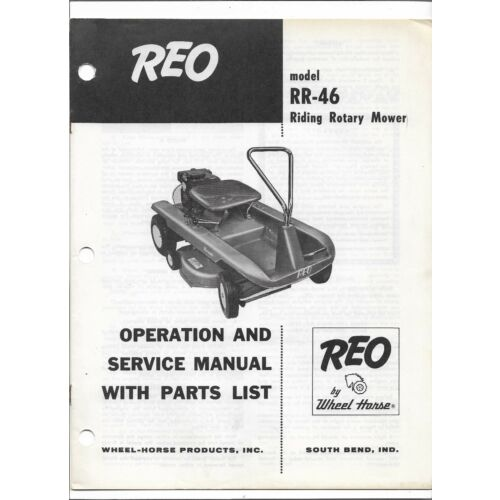 original-reo-wheel-horse-rr46-riding-rotary-mower-operators-parts-service-manual