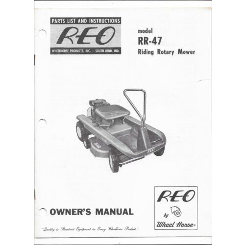 original-oem-reo-wheel-horse-rr47-rr47-riding-rotary-mower-owners-parts-manual