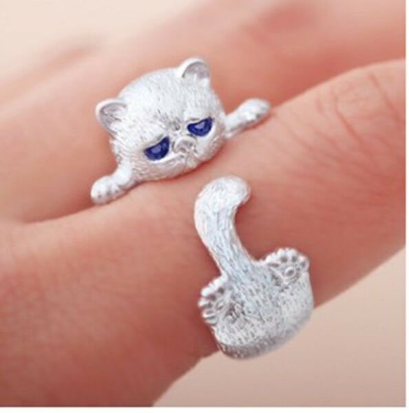 Women's Cute Animal Cat Ring Kitty Adjustable Ring Blue Eyes Jewelry Unique Gift