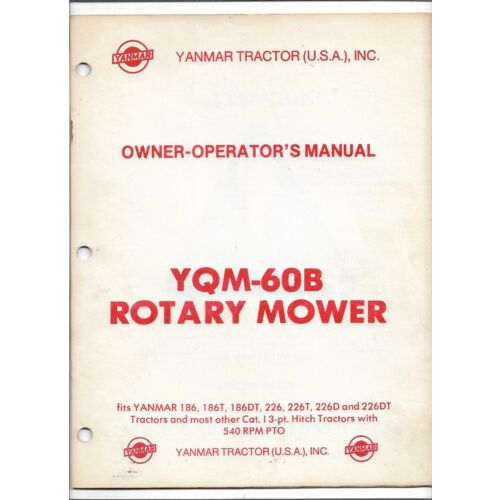 original-yanmar-model-yqm60b-rotary-mower-operators-owners-manual-m044250060b