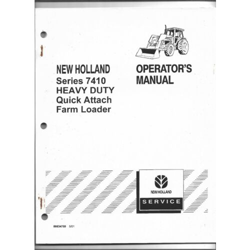 original-new-holland-model-7410-hd-quick-attach-loader-operators-owners-manual