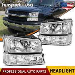 Kyпить 4PCS FOR 2003-2006 CHEVY SILVERADO CHROME HOUSING CLEAR SIDE HEADLIGHT/LAMP SET на еВаy.соm