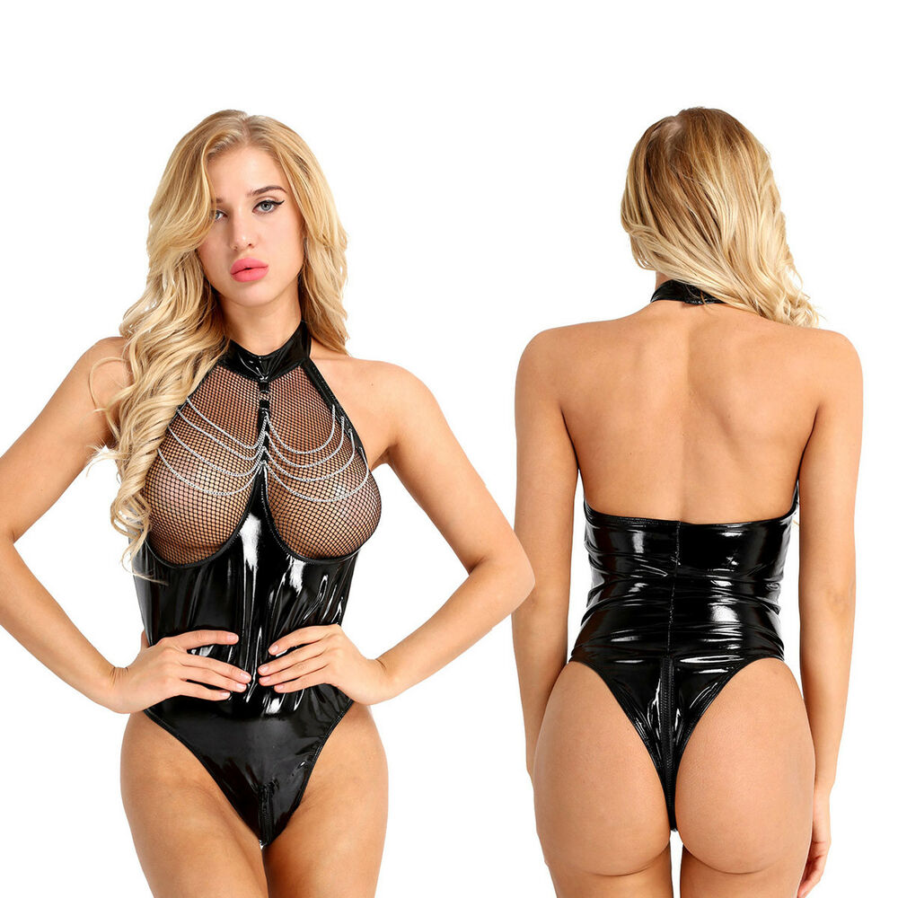 55a5b1ab3a46a Details about Sexy Women Halter Leather Fishnet Bodysuit Catsuit Jumpsuit  Romper Club Leotard