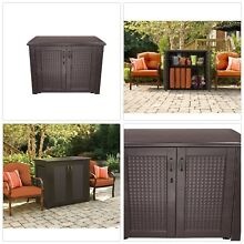 Storage Cabinet Outdoor Deck Box Weather Resistant Water Proof Durable Resin