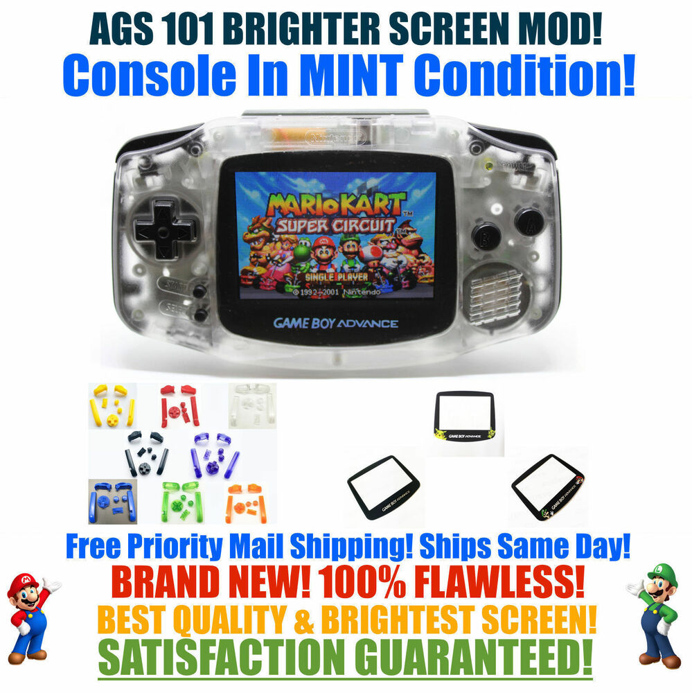 Nintendo Game Boy Advance Gba Clear System Ags 101 Backlit Mod Games Mario Kart Super Circuit For Gb Video Rechargeable Ebay