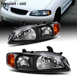 Kyпить For 2000 2001 2002 2003 Nissan Sentra Headlight Factory Style Black Housing Pair на еВаy.соm