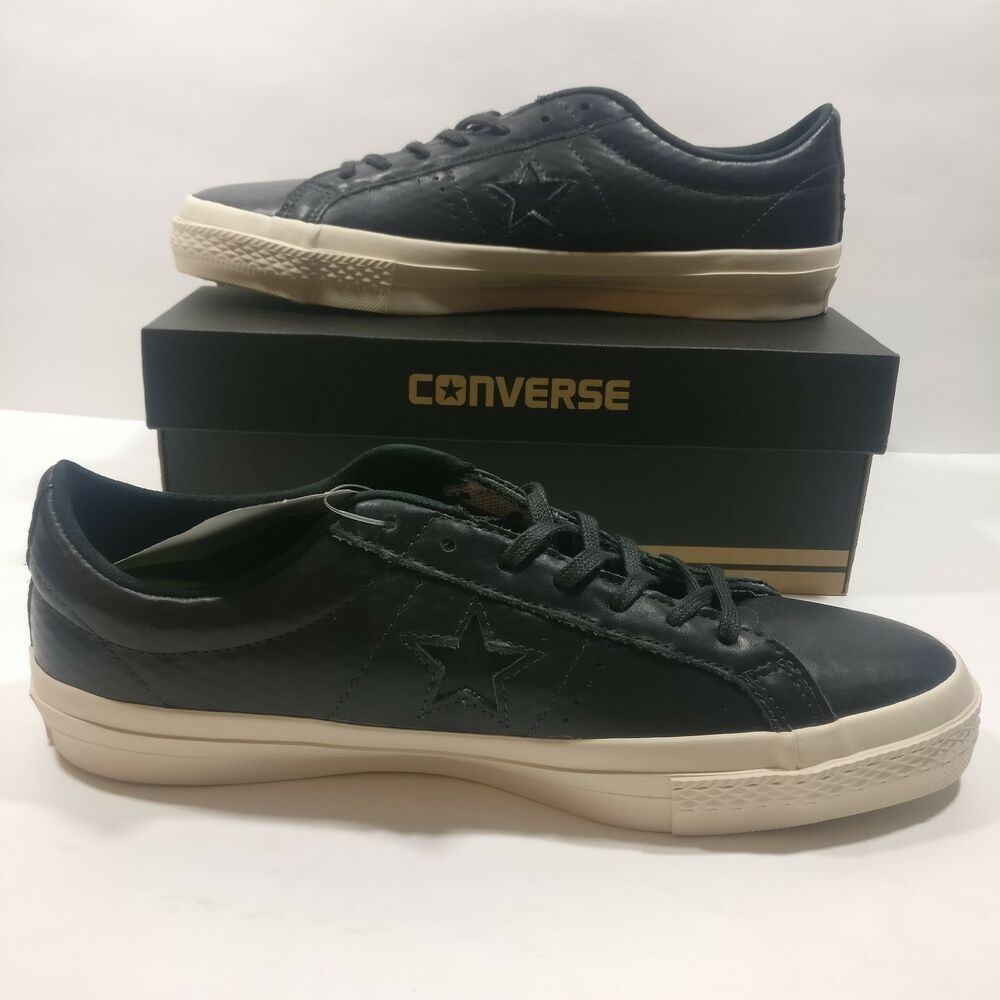 71945a33206 Details about Mens Converse Cons One Star Leather Black White Skateboarding  Shoes (153705C)